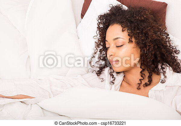 mulher, africano, slepping - csp16733221