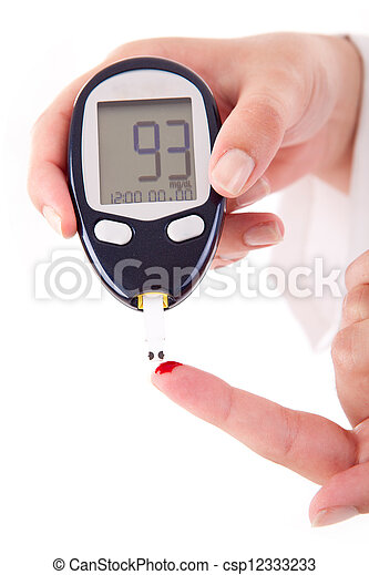 sangue, nível, medindo, glucose, paciente, diabetes - csp12333233